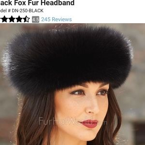 Black fox saks fifth ave head band or collar
